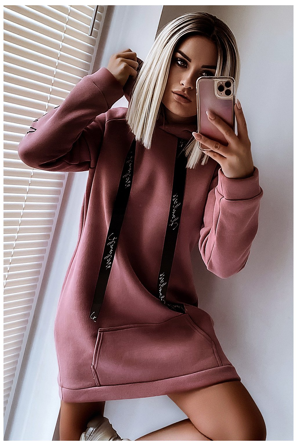Šaty / dlhá mikina s kapucňou - Desert Rose