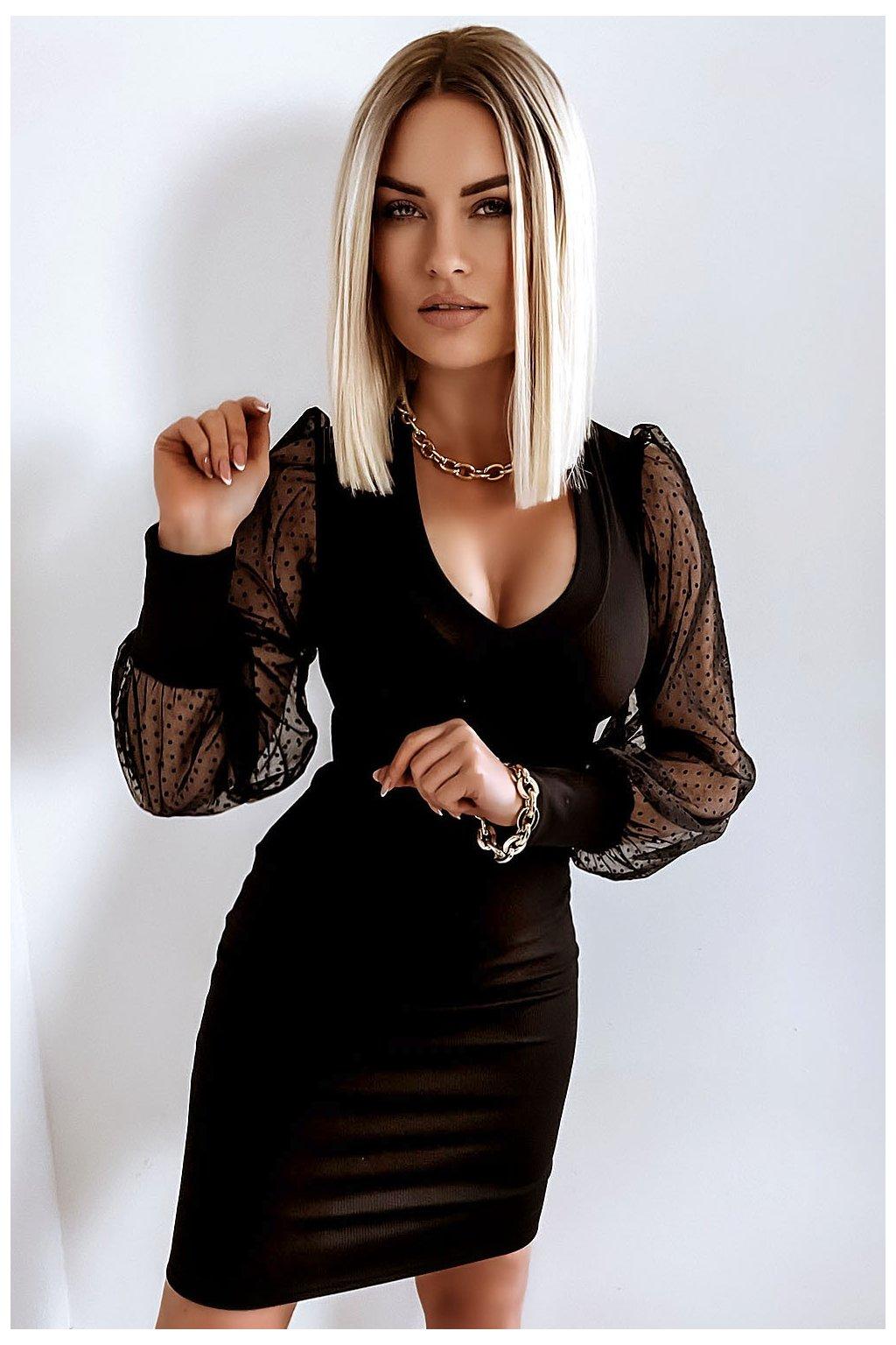 sukienka bufki 485 black dots