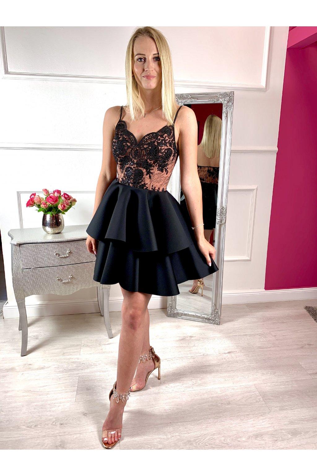 LEILA - krátke spoločenské šaty - čierne
