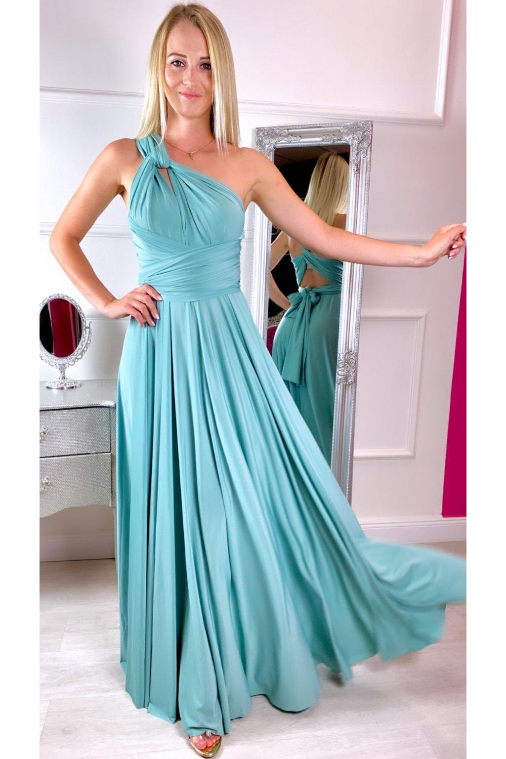 INFINITY dámske dlhé spoločenské šaty na viazanie - Olive