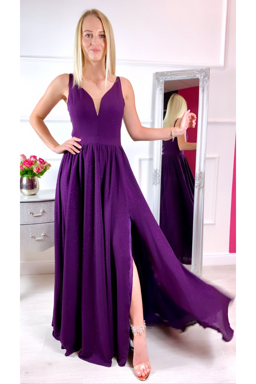 MEGAN dámske dlhé spoločenské šaty BAKLAŹAN