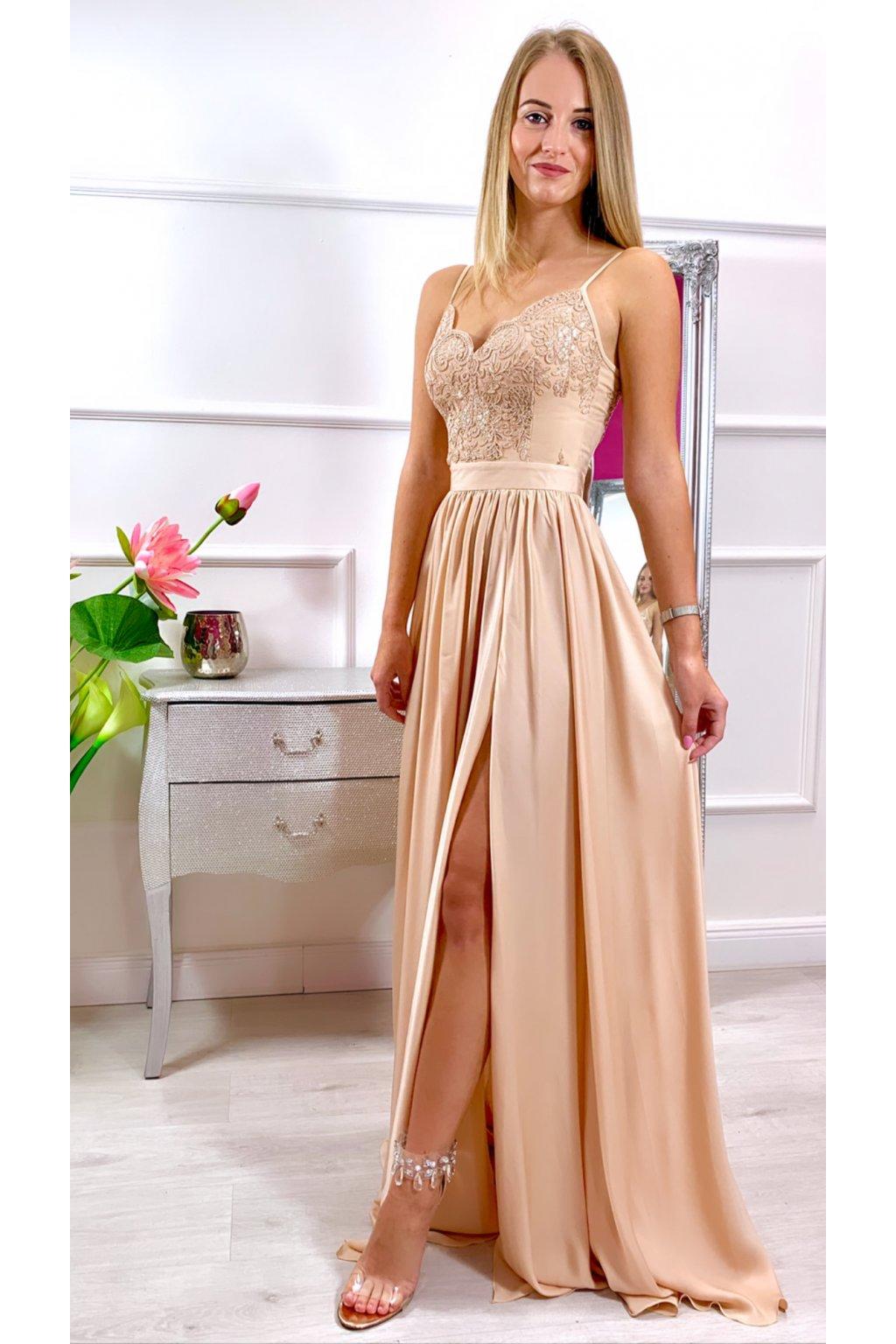 BELLA  dámske dlhé spoločenské šaty zlaté
