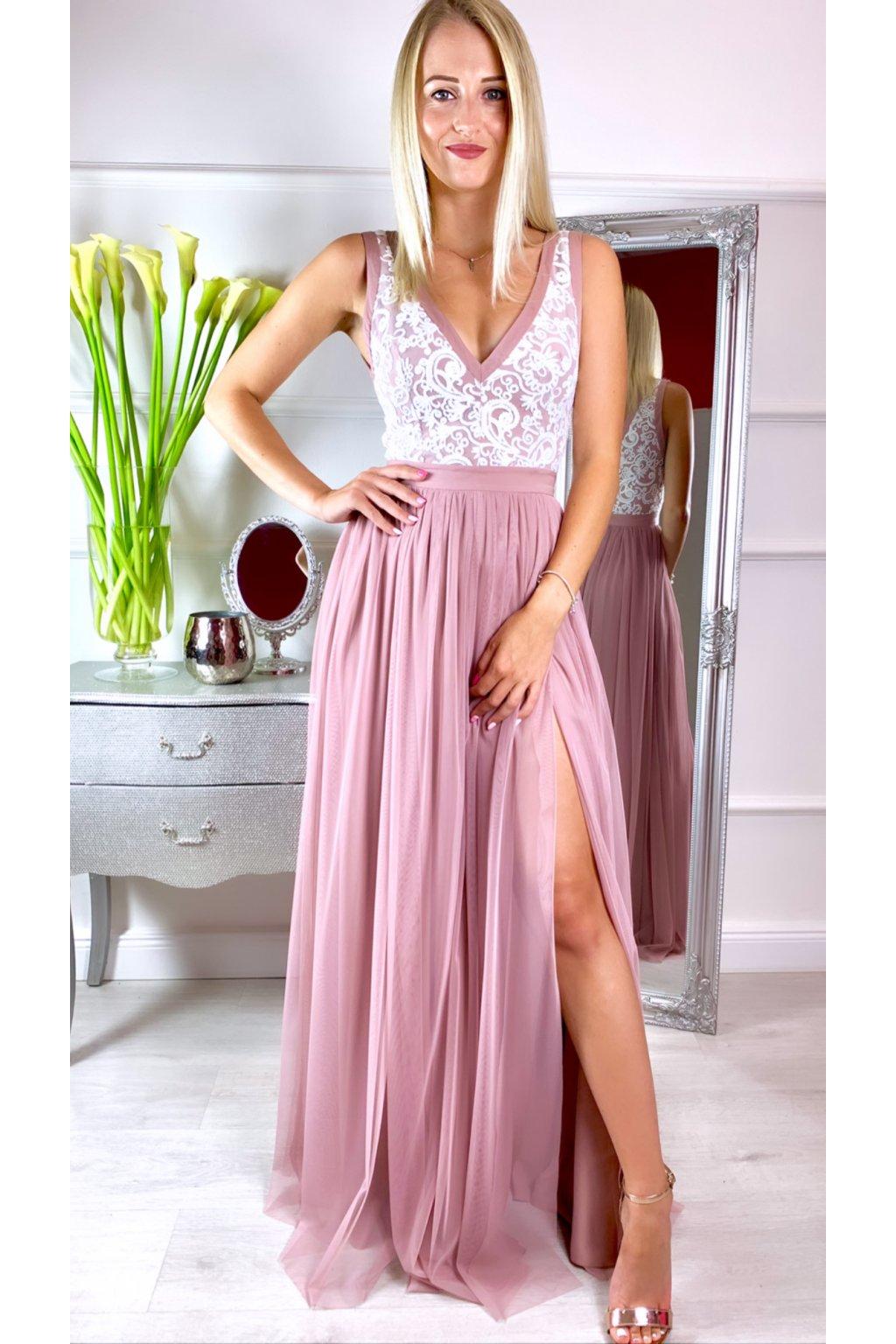CHARLOTTE dámske dlhé spoločenské šaty s rozparkami - staroružové