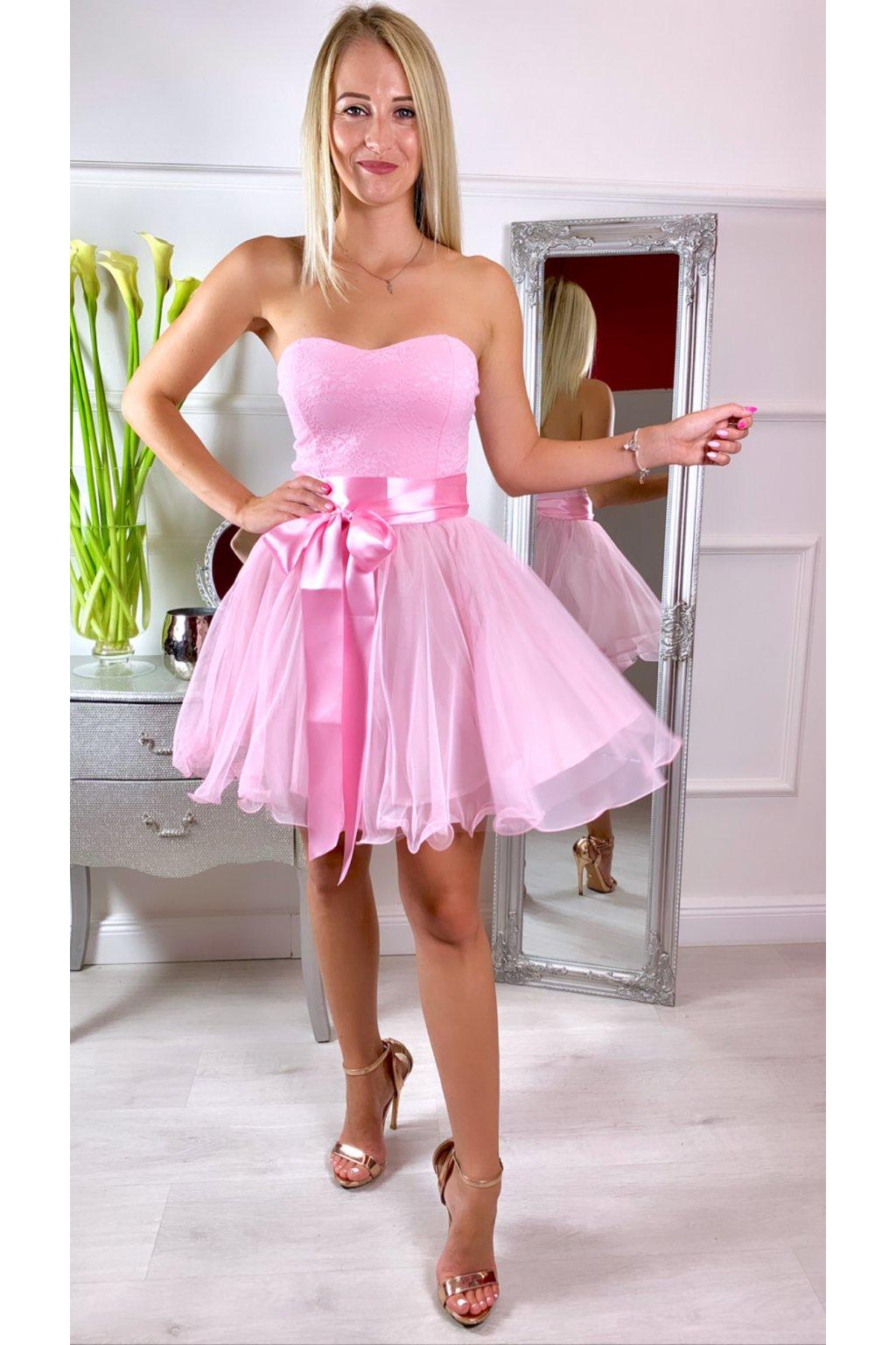 LEA krátke čipkované spoločenské šaty BABYPink