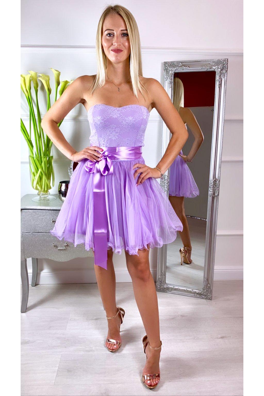 LEA krátke čipkované spoločenské šaty LILA