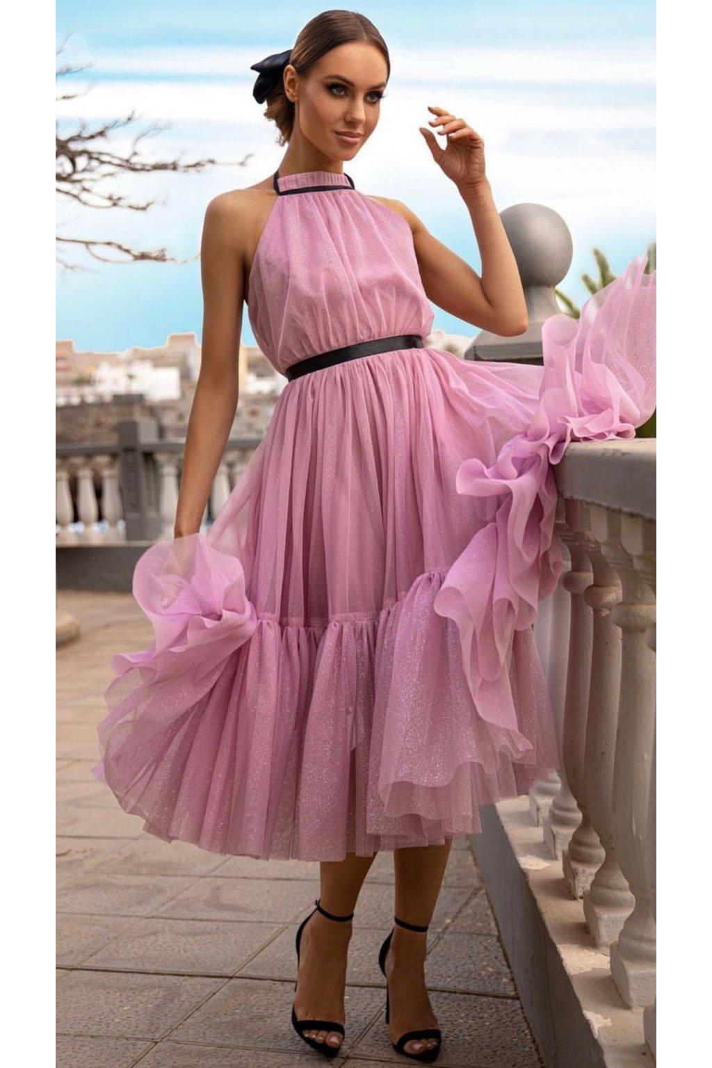 LARA - dámske midi šaty - púdrové trblietkavé