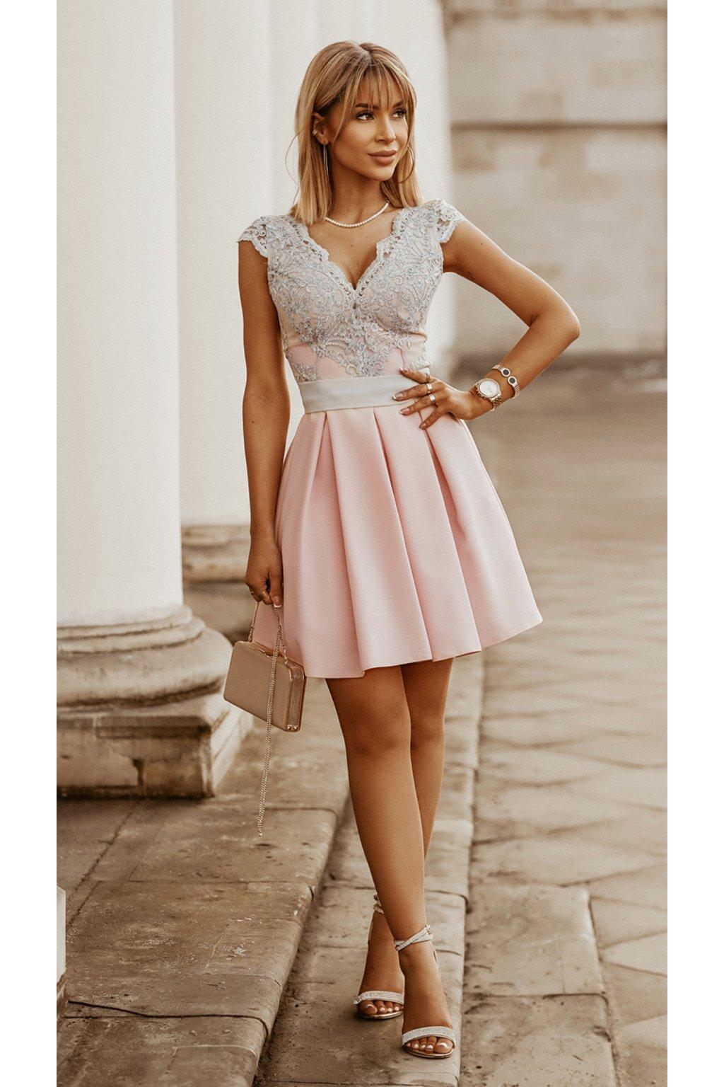 BUTTERYFLY dámske krátke šaty púdrové