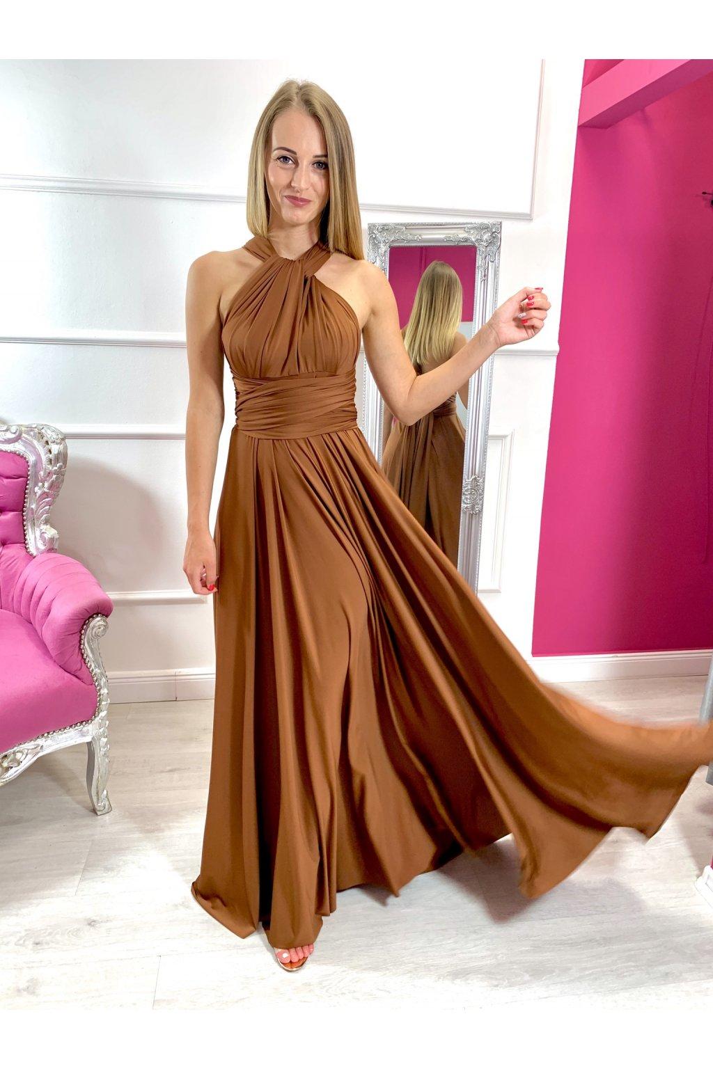 INFINITY dámske dlhé spoločenské šaty na viazanie - chocolate