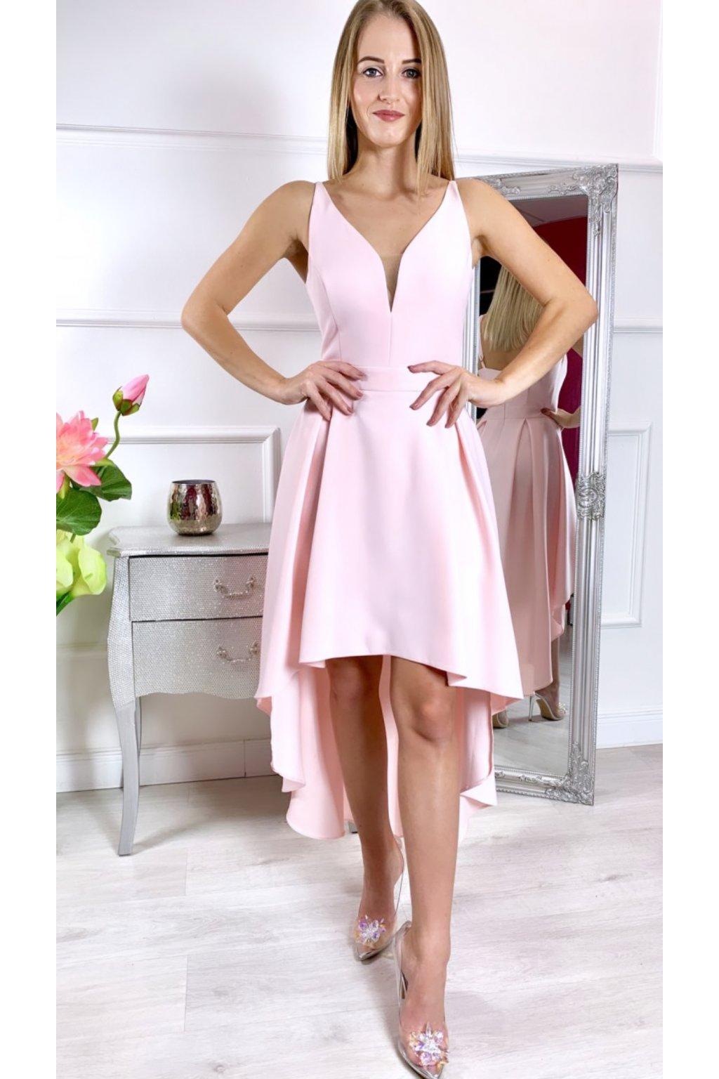 Naomi dámske asymetrické spoločenské šaty - púdrové