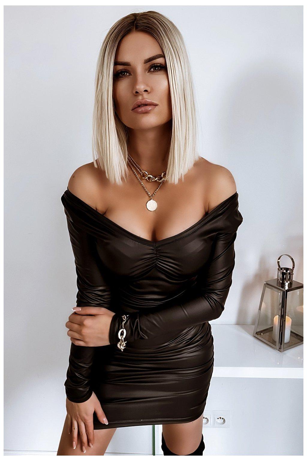 sukienka marszczona 658 leather 2743