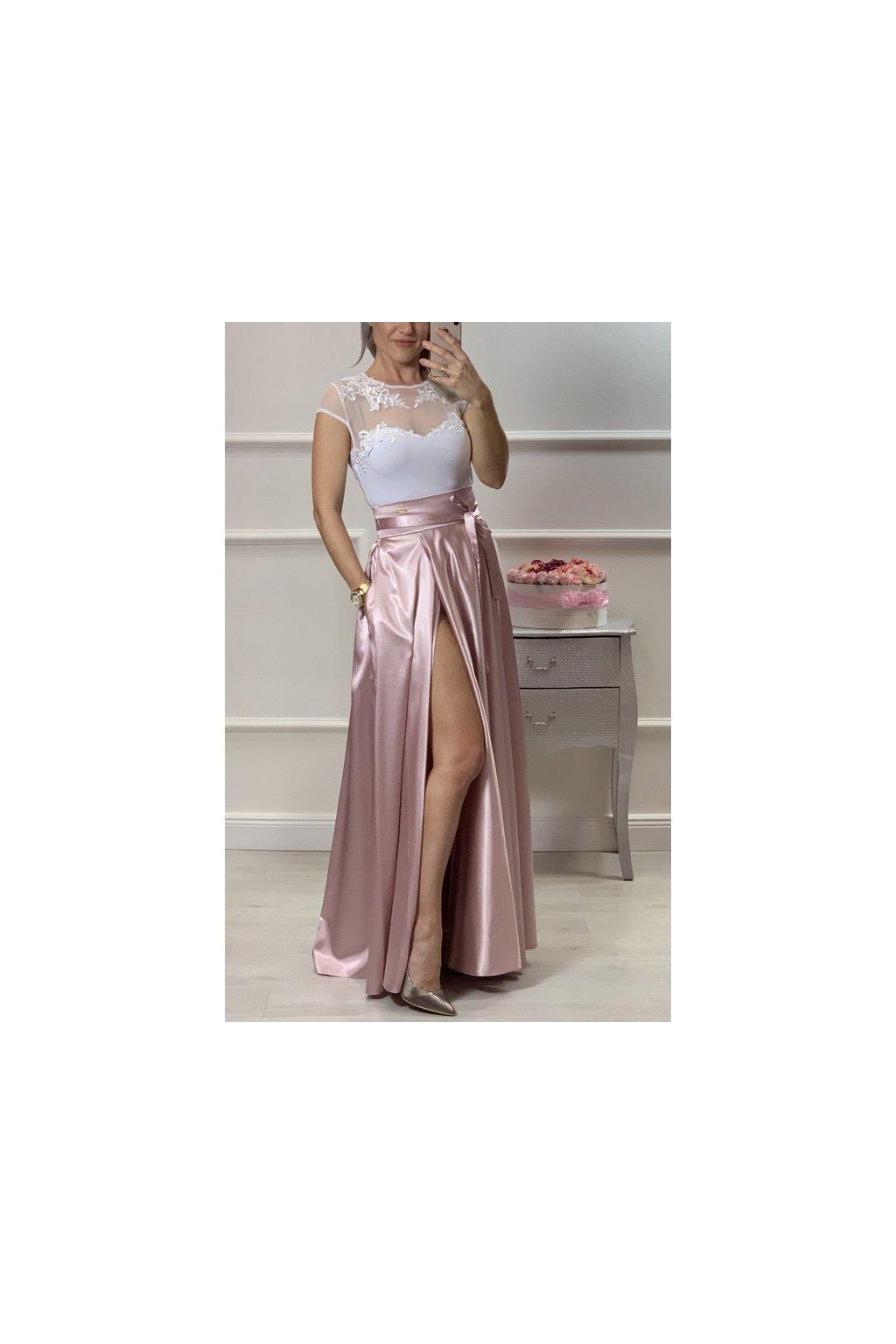 Dámska dlhá saténová sukňa s rozparkom - svetloružová