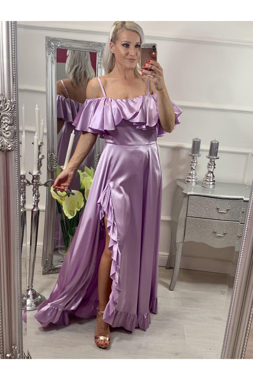 Scarlet - dámske dlhé spoločenské šaty s volánikmi - fialová