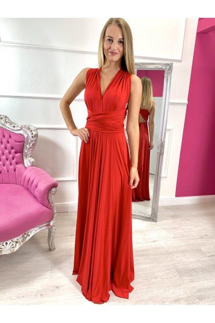 INFINITY dámske dlhé spoločenské šaty na viazanie - Červené