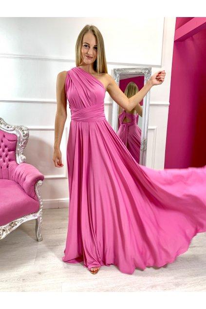 INFINITY dámske dlhé spoločenské šaty na viazanie - Dolly Pink