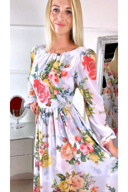 Linda - dámske dlhé šaty - biele kvetované