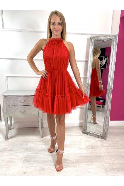 MINNIE - dámske krátke tylové šaty - červené