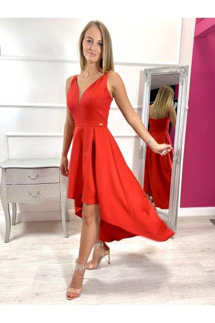 NAOMI dámske asymetrické spoločenské šaty - červené