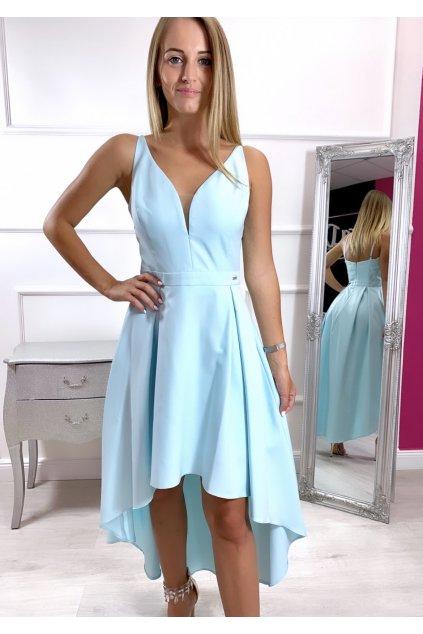 NAOMI dámske asymetrické spoločenské šaty - svetlomodé