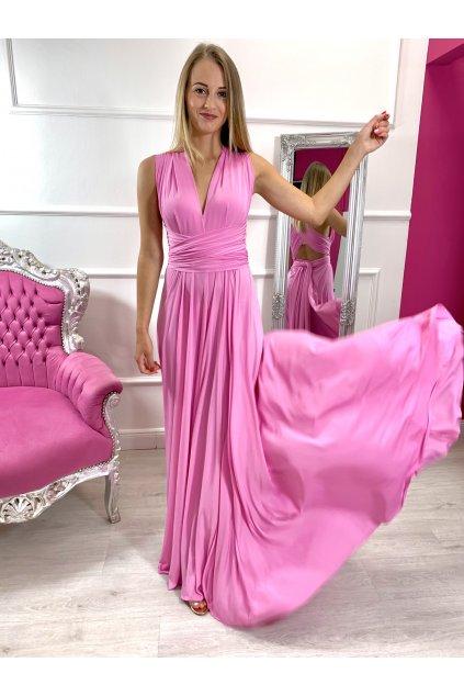INFINITY dámske dlhé spoločenské šaty na viazanie - New Pink