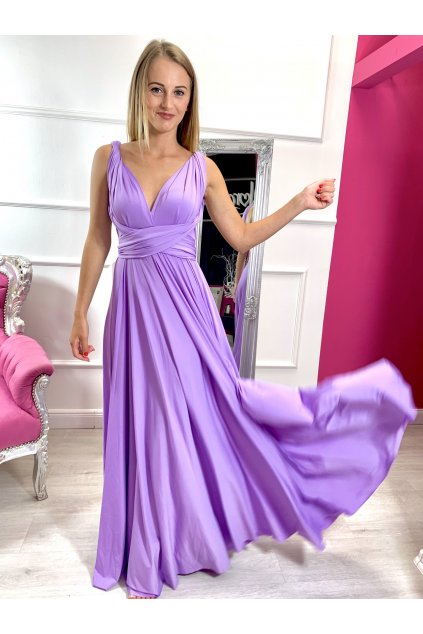 INFINITY dámske dlhé spoločenské šaty na viazanie - fialové
