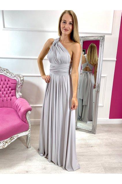 INFINITY dámske dlhé spoločenské šaty na viazanie - Gray