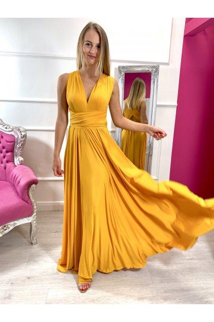 INFINITY dámske dlhé spoločenské šaty na viazanie - horčicové