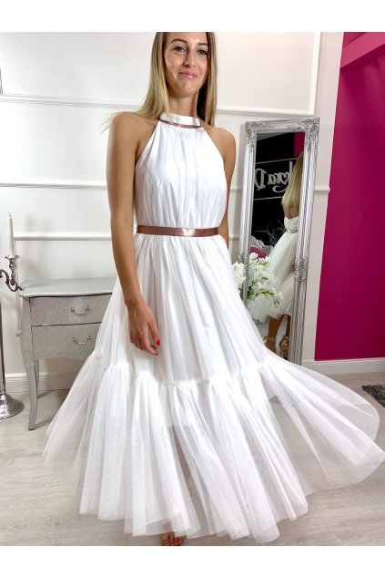 LARA - dámske midi šaty - biele