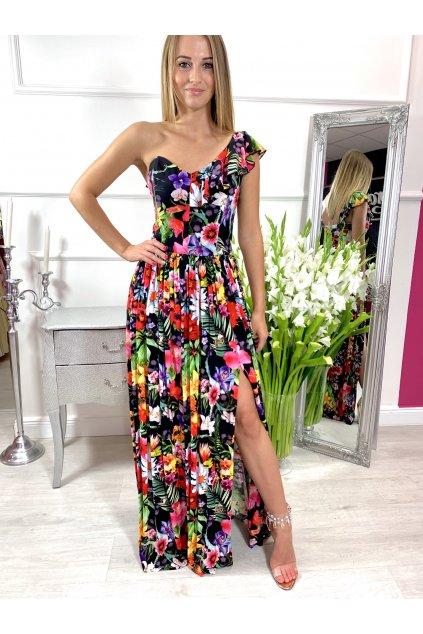 TAMARA dámske dlhé spoločenské - letné šaty - čierne kvetované