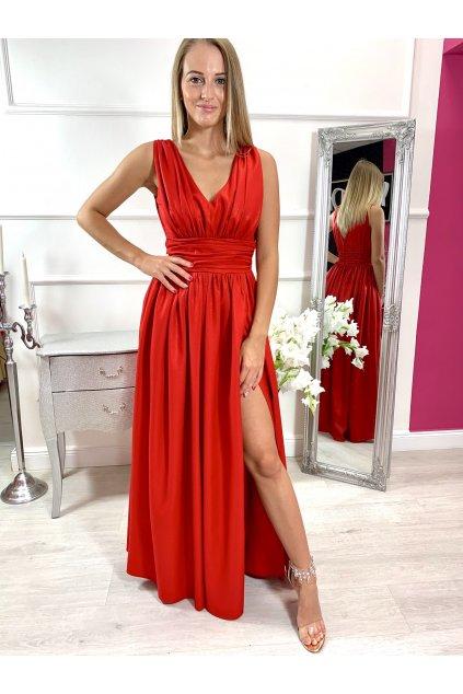 TINA dámske dlhé spoločenské šaty s rozparkom - červené