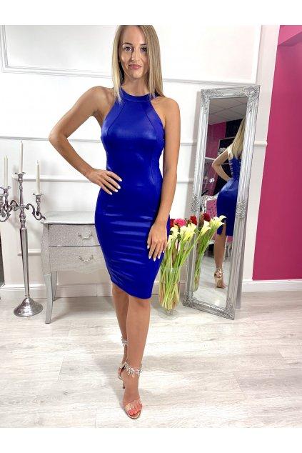 CINDY dámske priliehavé šaty s vystrihom na chrbte - modré