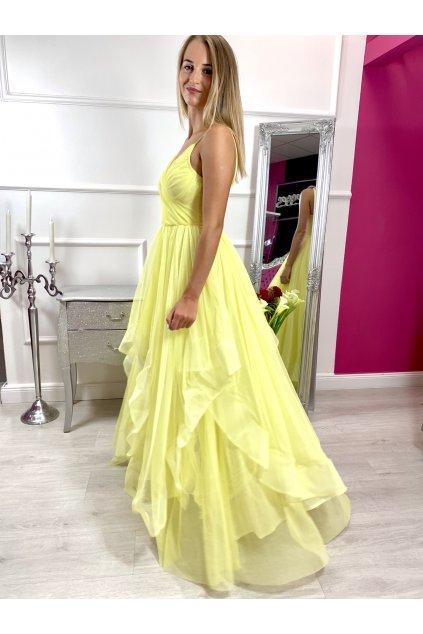 Sheryl - dámske dlhé spoločenské šaty - žlté