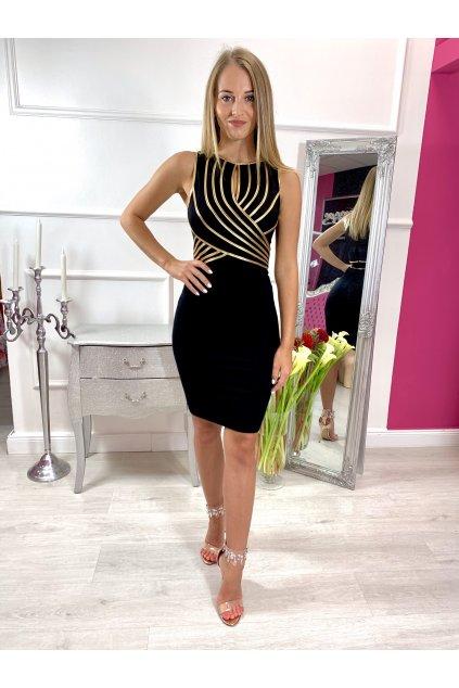 ELA dámske priliehavé spololčenské šaty zlaté