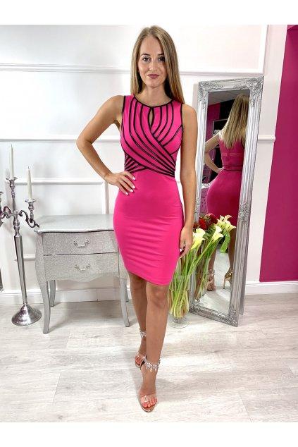 ELA dámske priliehavé spololčenské šaty ružové