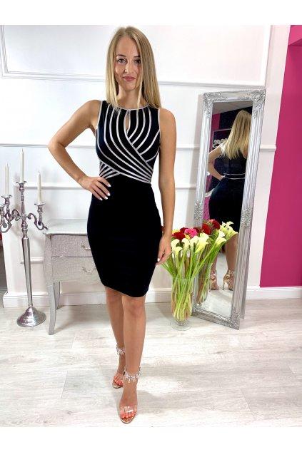 ELA dámske priliehavé spololčenské šaty strieborné