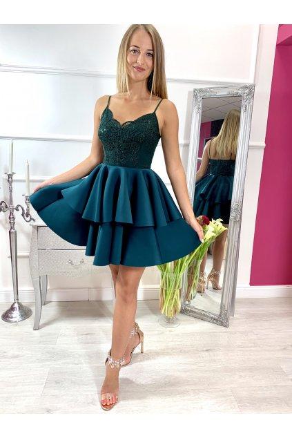 LEILA - krátke spoločenské šaty - smaragd