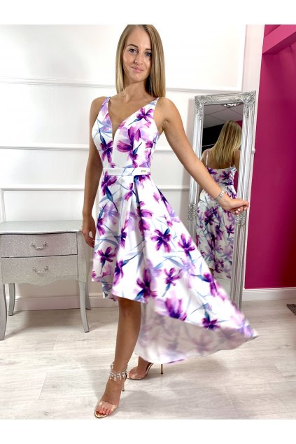NAOMI dámske asymetrické spoločenské šaty - kvetované