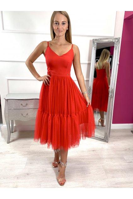 AURORA dámske midi šaty červené