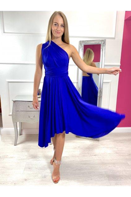 INFINITY dámske krátke spoločenské šaty na viazanie - královské modré