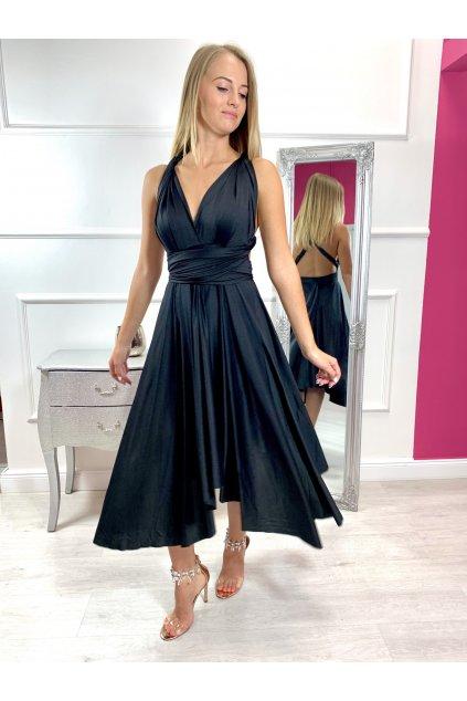 INFINITY dámske krátke spoločenské šaty na viazanie - čierne