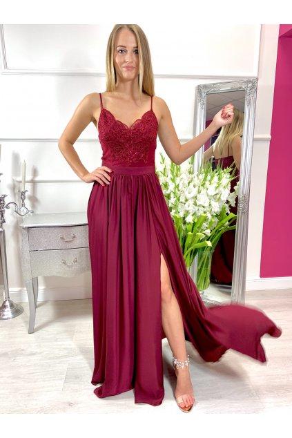 BELLA dámske dlhé spoločenské šaty s rozparkom - bordové