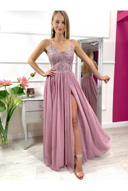 MOLI dámske dlhé spoločenské šaty s tylovou sukňou staroružová