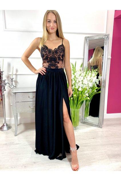 BELLA - dámske dlhé spoločenské šaty s rozparkom - čierne