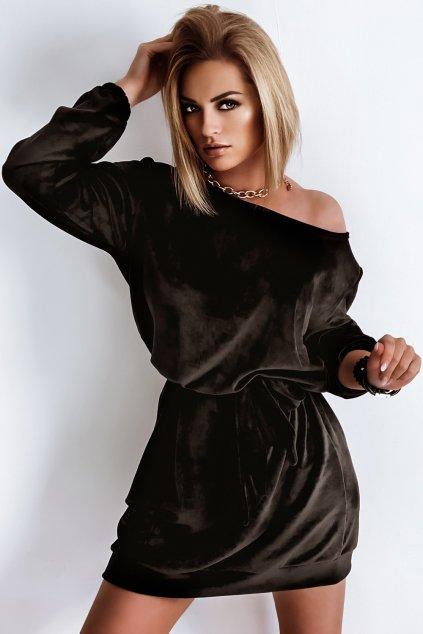Voľné zamatové šaty s opaskom - Black