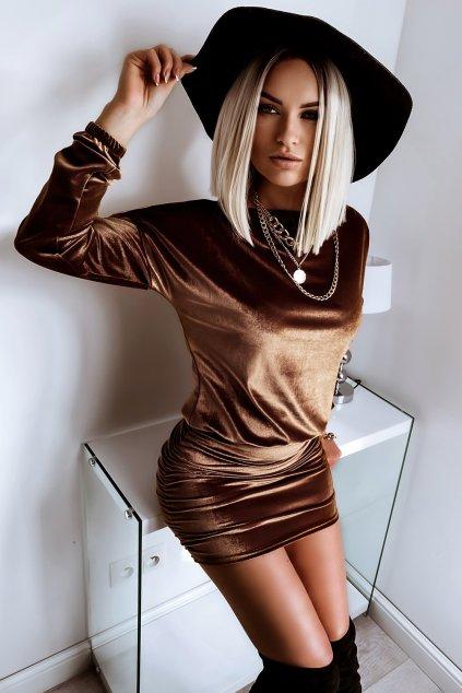 Voľné zamatové šaty - Gold