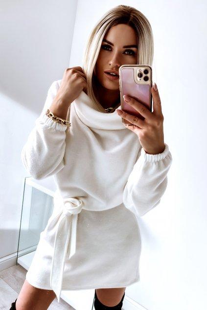 Teplučké jesenné šaty s opaskom - Cream