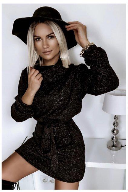 Teplučké jesenné šaty s opaskom - X Black