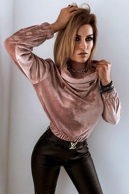Mikina s golierom velvet - Rosé