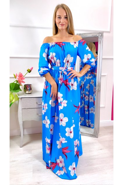 CLARA dámske dlhé voľne šaty - modré