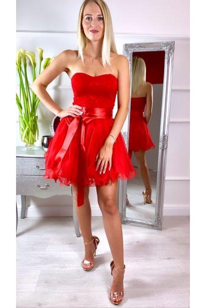 LEA krátke čipkované spoločenské šaty Red