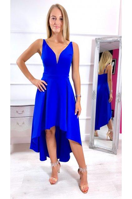 NAOMI dámske asymetrické spoločenské šaty - královské modré